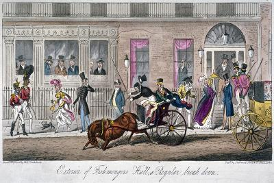 Exterior of Fishmongers Hall, a Regular Break Down, 1824-Isaac Robert Cruikshank-Giclee Print