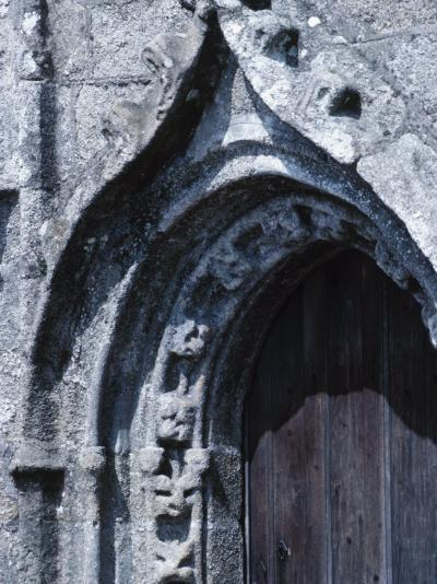 Exterior of Gray Stone Arch of Cathedral in France--Photographic Print