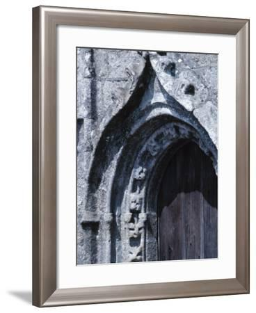 Exterior of Gray Stone Arch of Cathedral in France--Framed Photographic Print