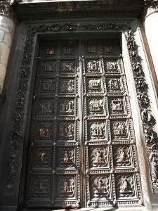 Exterior of Historical Door of Duomo in Florence, Italy