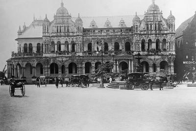 Exterior of Large Bank with Carriages in Front--Photographic Print
