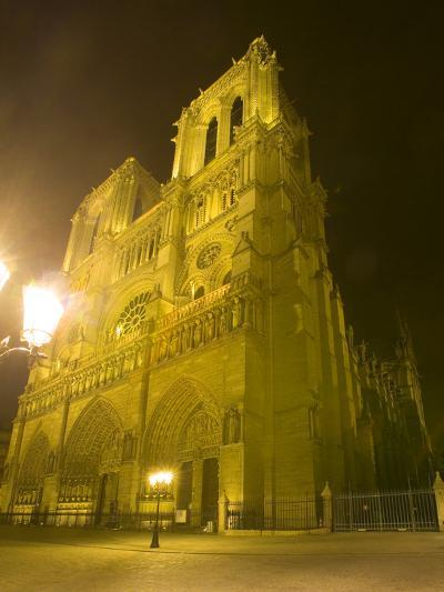 Exterior of Notre Dame Cathedral at Night, Paris, France-Jim Zuckerman-Photographic Print