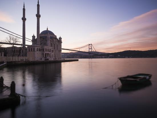 Exterior of Ortakoy Mosque and Bosphorus Bridge at Dawn, Ortakoy, Istanbul, Turkey-Ben Pipe-Photographic Print