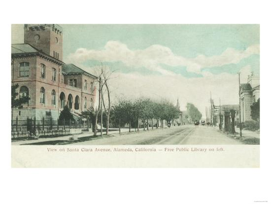 Exterior View of Public Library on Santa Clara Ave - Alameda, CA-Lantern Press-Art Print