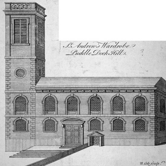 Exterior View of St Andrew by the Wardrobe, City of London, C1750-Benjamin Cole-Giclee Print