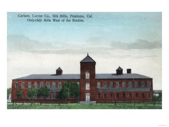 Exterior View of the Currier Co Silk Mills - Petaluma, CA-Lantern Press-Art Print
