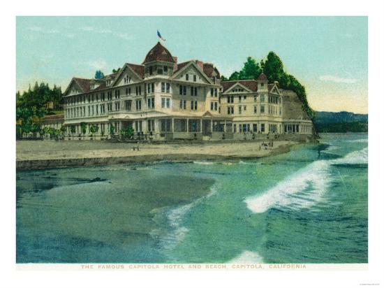 Exterior View of the Famous Capitola Hotel - Capitola, CA-Lantern Press-Art Print