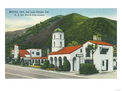 Exterior View of the Motel Inn - San Luis Obispo, CA-Lantern Press-Art Print