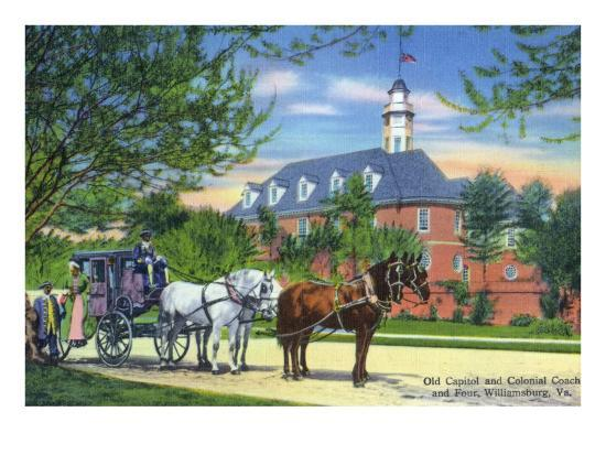 Exterior View of the Old Capitol Building with a Horse-Drawn Coach, Williamsburg, Virginia-Lantern Press-Art Print