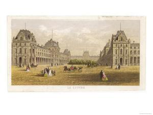 Exterior View of the Palace of the Louvre Before the Siege and the Commune During
