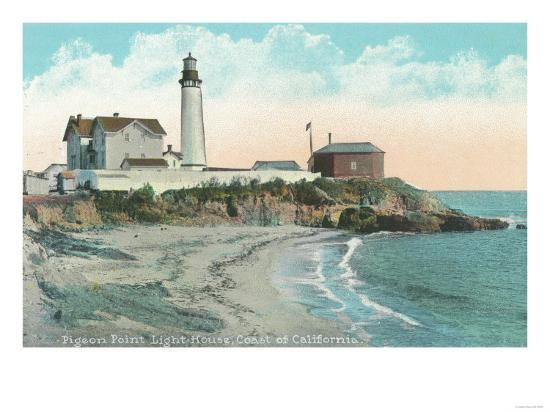 Exterior View of the Pigeon Point Lighthouse - Pigeon Point, CA-Lantern Press-Art Print