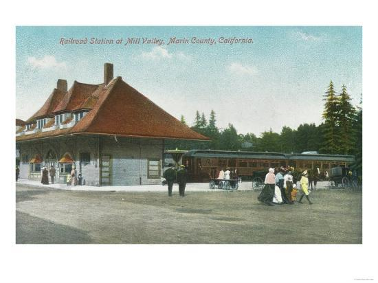 Exterior View of the Railway Station - Mill Valley, CA-Lantern Press-Art Print