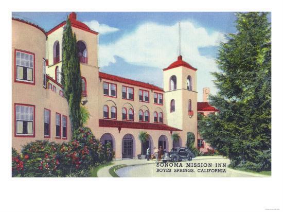 Exterior View of the Sonoma Mission Inn - Boyes Hot Springs, CA-Lantern Press-Art Print