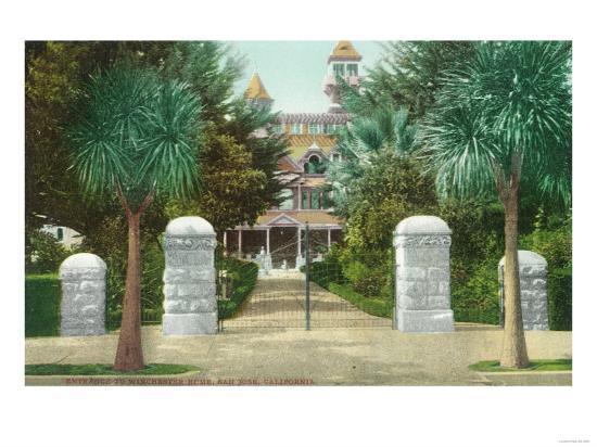 Exterior View of the Winchester Home - San Jose, CA-Lantern Press-Art Print