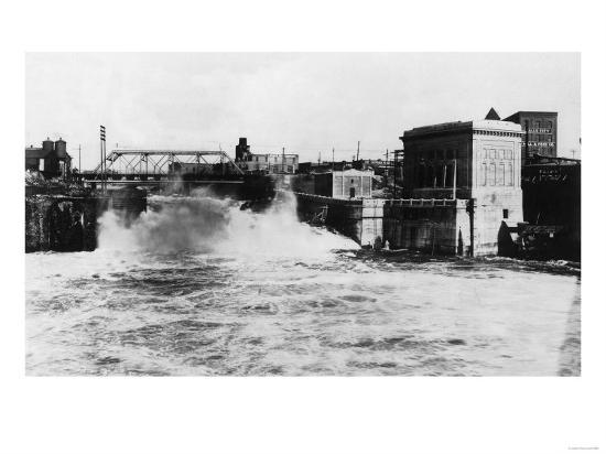 Exterior View of Washington Water Power Plant - Spokane, WA-Lantern Press-Art Print