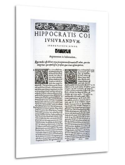 Extract of the Hippocratic Oath in Latin and Greek, 1588 (Vellum)-Italian-Metal Print