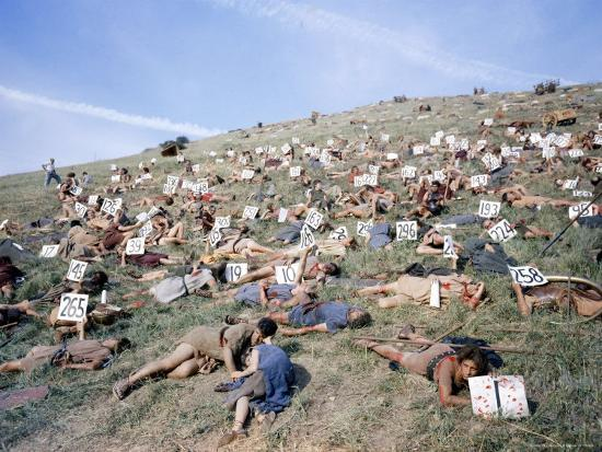 """Extras Playing Dead People Hold Numbered Cards Between Takes During Filming of """"Spartacus""""-J^ R^ Eyerman-Photographic Print"""