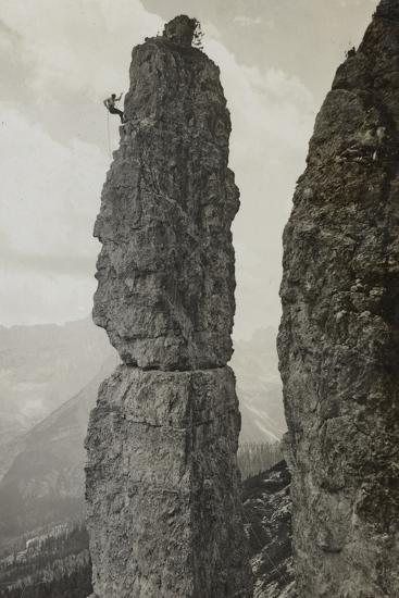Extreme Climbing on a Mountain Peak in the Dolomites--Photographic Print