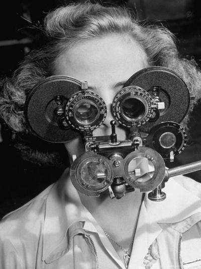 Eye Examination as Part of Good Drivers League Contest Held Annually by Ford Motor Company-Alfred Eisenstaedt-Photographic Print
