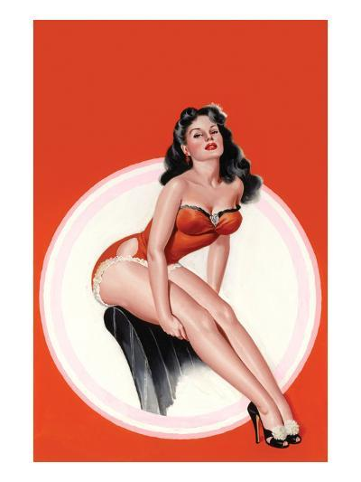 Eyeful Magazine; Brunette in a Red Bathing Suit-Peter Driben-Art Print