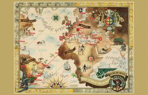 Bandeirante Fleet Air Route World Map - Panair Do Brasil - Pan American by Eymonnet