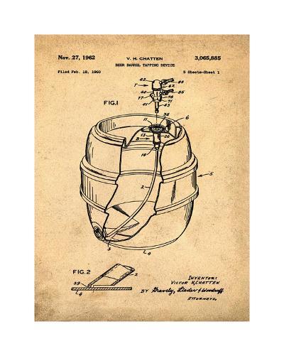 EZ Tap Keg sepia-Bill Cannon-Giclee Print