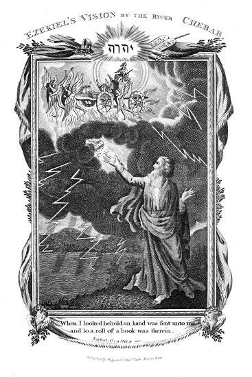 Ezekiel's Vision of a Chariot in the Sky and a Hand in the Clouds Holding Out a Book to Him, 1804--Giclee Print