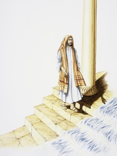 Ezekiel's Vision of Water Flowing Down from Temple--Giclee Print