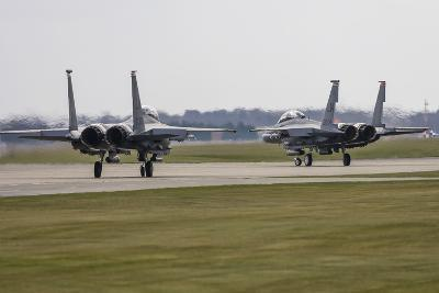 F-15E Strike Eagles of the U.S. Air Force Line Up for Takeoff-Stocktrek Images-Photographic Print