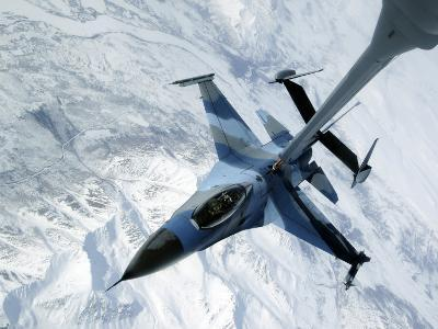 F-16 Aggressor Sits in Contact Position While a KC-10 Extender Off-Loads Fuel--Photographic Print
