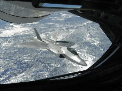 F-22 Raptor Banks Away from a KC-135 Statotanker During a Refueling Operation-Stocktrek Images-Photographic Print