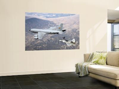 F-22 Raptor Receives Fuel from a KC-135 Stratotanker--Wall Mural