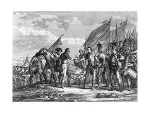 Engraving of the Battle of Saratoga, 1777 by F. Godfrey