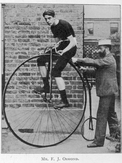 F J Osmond, Noted Racing Cyclist, on His Machine--Photographic Print