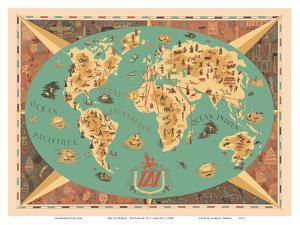 Map of World - TAI Airline (Transports Aeriens Intercontinenteaux) by F. Lesourt