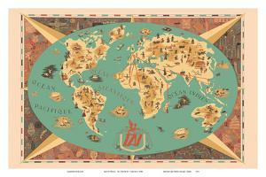 Map of World - TAI Airline (Transports Aeriens Intercontinenteaux) by F^ Lesourt