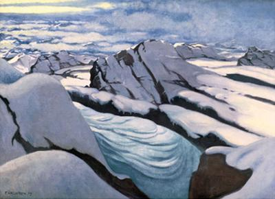 Alpine Mountain Chain Glaciers and Peaks in Snow by F?lix Vallotton