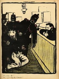 Three Policemen Bring a Man Beaten Black and Blue into the Police Station by F?lix Vallotton