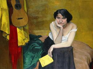 Woman and Guitar by F?lix Vallotton