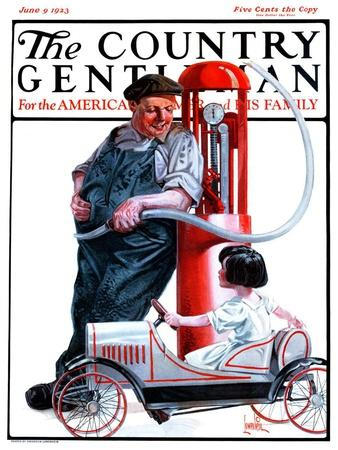 """Pedal Car at Gas Pump,"" Country Gentleman Cover, June 9, 1923"