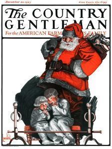 """Santa Overhears,"" Country Gentleman Cover, December 22, 1923 by F. Lowenheim"
