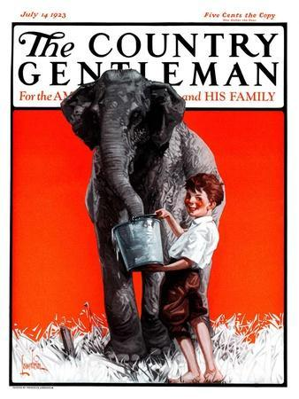 """Watering the Elephant,"" Country Gentleman Cover, July 14, 1923"