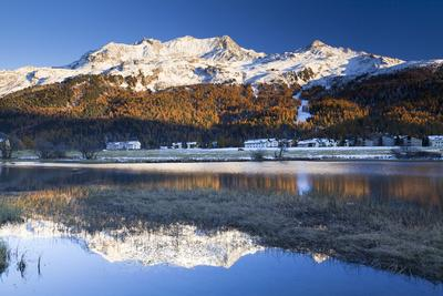 Piz Corvatsch in Bernina Range with Sils Im Engadin Reflecting in Lake Sils, Engadin, Switzerland