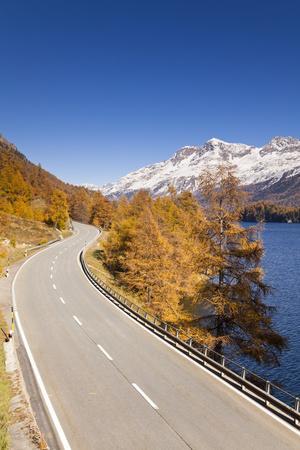 Road along Lake Sils with Piz Corvatsch, Engadin, Switzerland