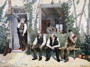 At the Barber's, 1895 by F Meaulle