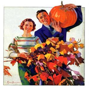 """""""Couple in Fall,""""October 1, 1935 by F^ Sands Brunner"""