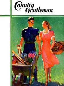 """""""Pushing Her Wheelbarrow,"""" Country Gentleman Cover, April 1, 1938 by F. Sands Brunner"""