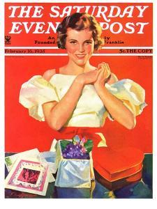 """""""Valentine's Gifts,"""" Saturday Evening Post Cover, February 16, 1935 by F. Sands Brunner"""