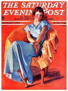 """""""Woman in Chair,"""" Saturday Evening Post Cover, September 1, 1934 by F. Sands Brunner"""
