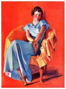 """""""Woman in Chair,""""September 1, 1934 by F. Sands Brunner"""